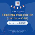 Thông báo tuyển sinh chương trình học cấp tốc tiếng Pháp (trình độ từ A1 đến B2)