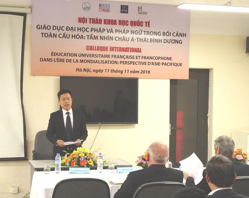 Phó Giám đốc ĐHQGHN Lê Quân phát biểu tại hội thảo