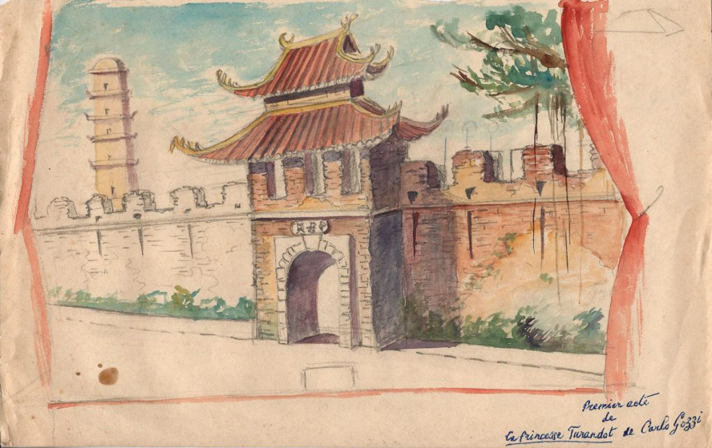 Phác họa trang trí cho vở 'Công chúa Turandot' do C. Bourrin dàn dựng tại Nhà hát lớn Hà Nội năm 1926